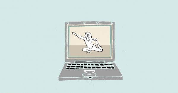 laptop montrant une posture de yoga